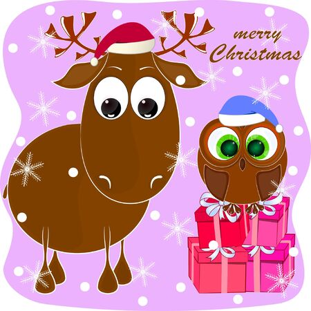 merry christmas greeting card with reindeer and owl. cartoon reindeer and owl vector illustration.