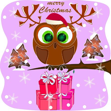 merry christmas greeting card with owl. cartoon owl with horns merry christmas greeting card. cartoon owl with horns vector illustration.