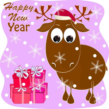 Cute deer cartoon vector illustration. happy new year greeting card with deer. merry christmas greeting card with cartoon deer. moose cartoon vector illustration. Çizim