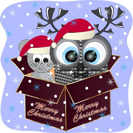 merry christmas greeting card with owl and mouse. owl and mouse in a gift box cartoon illustration. owl and mouse cartoon vector illustration. Çizim