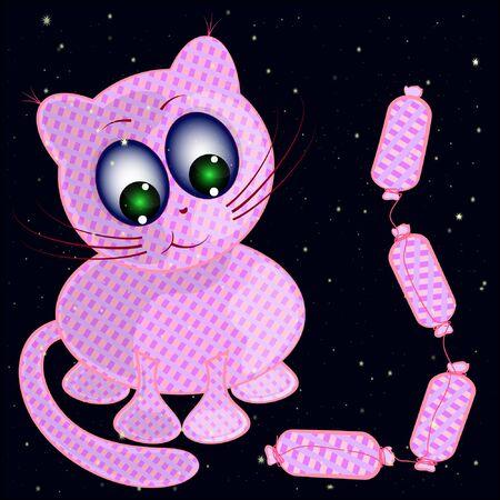 cat and stars cartoon vector illustration. kitten and sausages cartoon vector illustration.