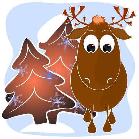 cute deer cartoon vector illustration. happy new year greeting card with deer. merry christmas greeting card with cartoon deer. moose cartoon vector illustration.