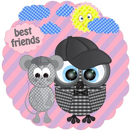 cute owl and mouse cartoon vector illustration. little mouse and owl best friends cartoon vector illustration.