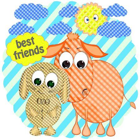 cute rabbit and donkey cartoon vector illustration. rabbit and donkey best friends cartoon vector illustration.