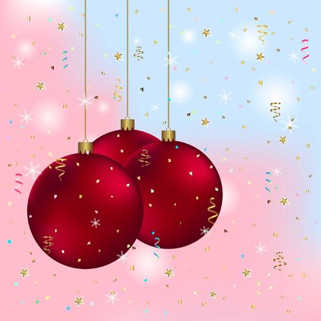 greeting card with christmas balls. happy new year greeting card with balls. simple new year greeting card vector illustration. Çizim