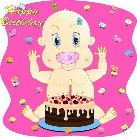 happy birthday greeting card with little baby. little baby cartoon vector illustration. Ilustracja