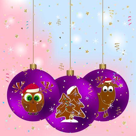 frohes neues jahr grußkarte mit hirsch und eule. frohe weihnachten-grußkarte mit hirsch und eule. Vektorgrafik