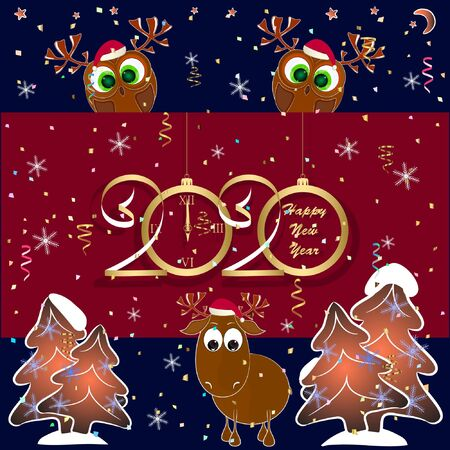 happy new year greeting card with owl and reindeer. cartoon greeting card with owl and deer. vector illustration with owl and deer.