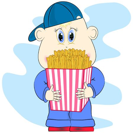 little boy with french fries. funny cartoon boy with fries. fast food vector illustration. potato vector illustration.