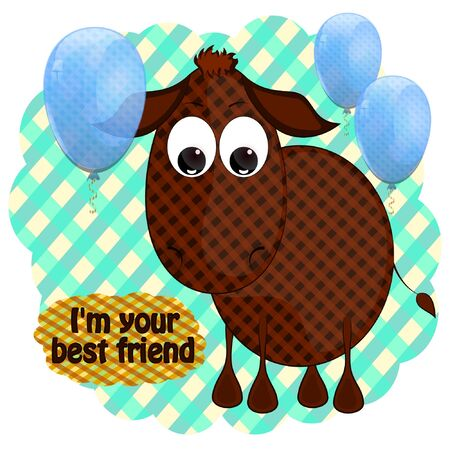 little cute donkey vector illustration. donkey best friend cartoon vector illustration. Ilustracja