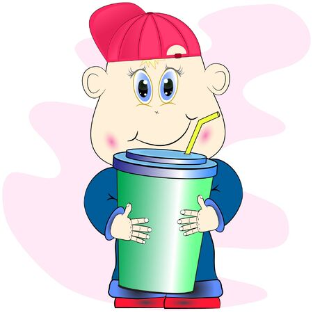 little funny boy with soda drink. cartoon boy vector illustration. Illustration