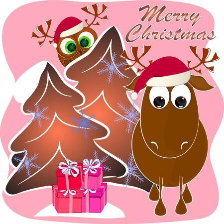 merry christmas cartoon greeting card. xmas greeting card with deer and owl. reindeer and owl cartoon vector illustration.