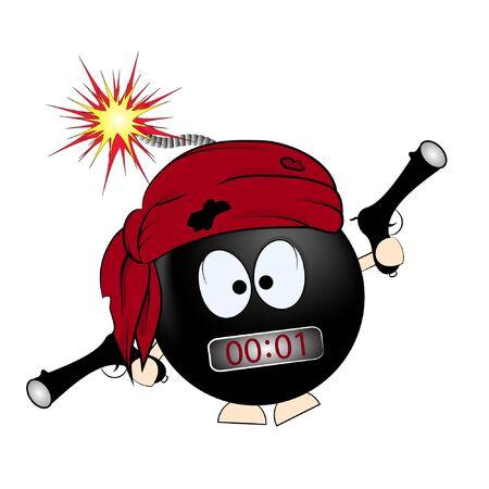 black bomba. pirate cartoon vector illustration. t-shirtart. t-shirtdesign.