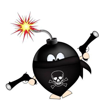 bomba negra con pistolas. bandido bomba. ilustración vectorial de dibujos animados. diseño de camiseta. impresión para camiseta. un ladrón con una pistola.
