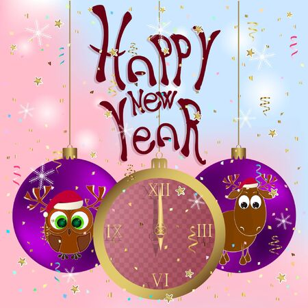 happy new year greeting card with clock. happy new year greeting card with deer and owl. vector illustration. Illustration