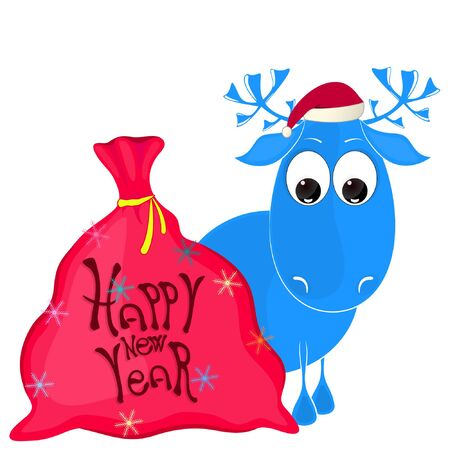 happy new year greeting card. reindeer and bag with gifts. vector illustration.