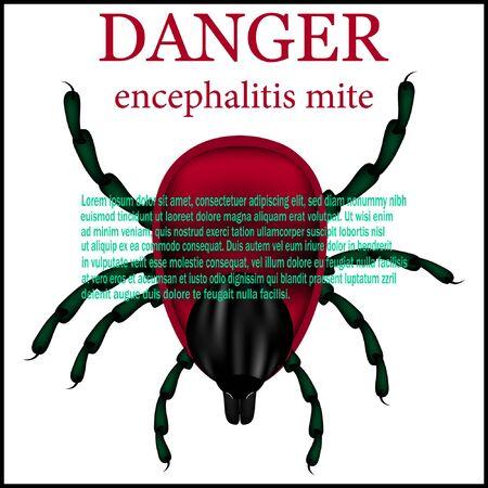 sign the danger of tick encephalitis. vector illustration.