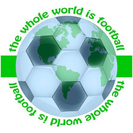 football logotype vector illustration. the whole world is football. banner vector illustration. Ilustração