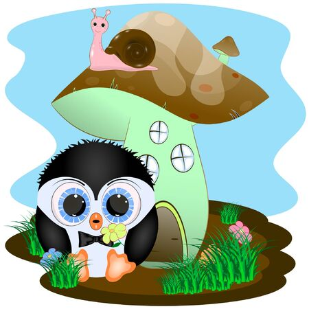 penguin and house cartoon vector illustration. penguin and mushroom house.