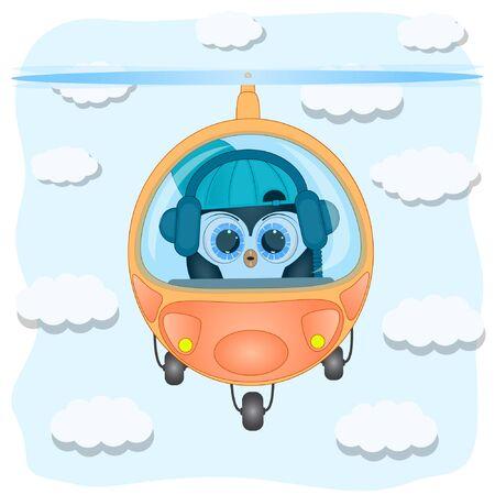 little penguin pilot helicopter. cute cartoon vector illustration. Vectores