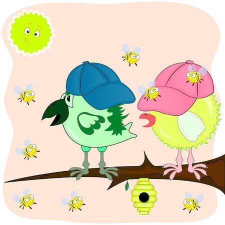 bees and chicks. cartoon vector illustration. vector illustration. Illustration