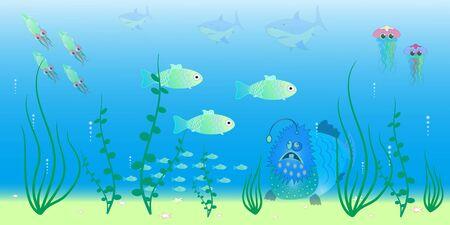 animals of the ocean depths vector illustration