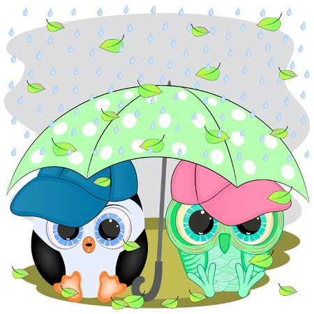 penguin and owl. under the umbrella.cartoon vector illustration.