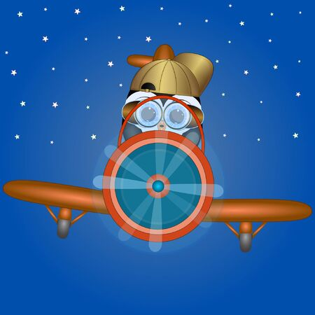 penguin the pilot of the plane. cartoon vector illustration.