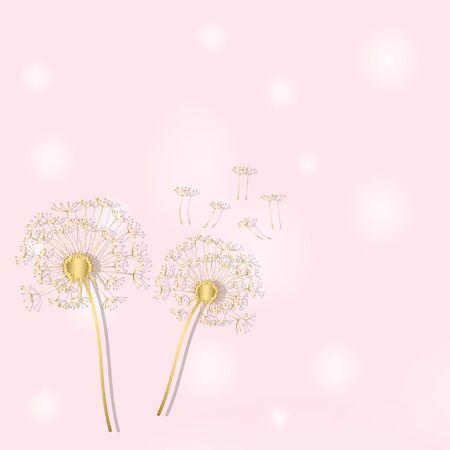 pink vector background with gold dandelion. abstract elegant illustration.