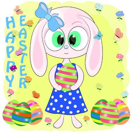 Cute cartoon bunny with easter egs vector illustration. Cute Cartoon pink Bunny with Easter eggs. rabbit cartoon vector illustration.