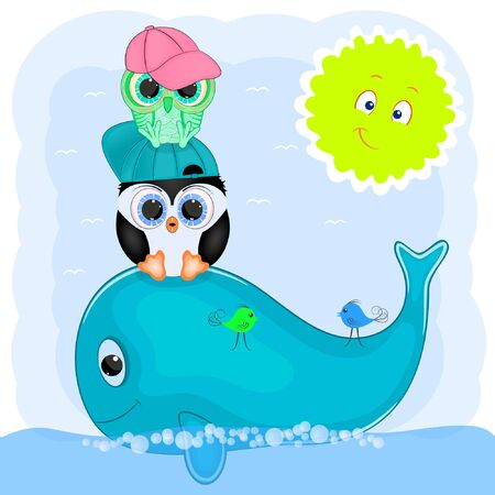 little penguin and owl on a whale. cartoon vector illustration.