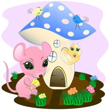 simpatico topo e fungo. illustrazione vettoriale dei cartoni animati. carino ratto e verme fumetto illustrazione vettoriale.