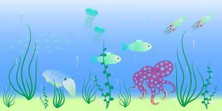 animals of the deep sea vector illustration Ilustracja