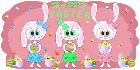 cute greeting card rabbits with easter egs vector illustration. Cute Cartoon pink Bunny and ?hicken on a pink background. Yellow Chicken in easter egs. Flowers and Butterflies. Hare cartoon vector.