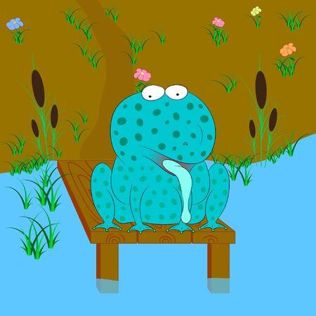 funny frog cartoon vector illustration
