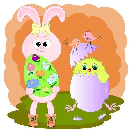 cute cartoon chicken and bunny with easter eg. vector illustration. rabbit cartoon vector illustration.