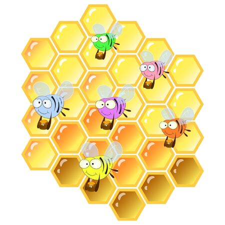 Bienen und Waben Cartoon-Vektor-Illustration.