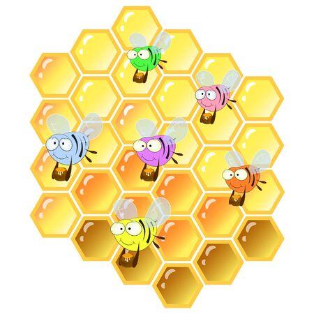 Ilustración de vector de dibujos animados de abejas y panales.