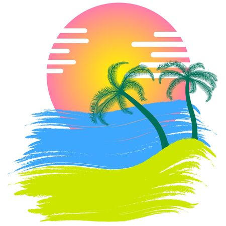 sunset with palm trees vector. summer time vector illustration. 일러스트