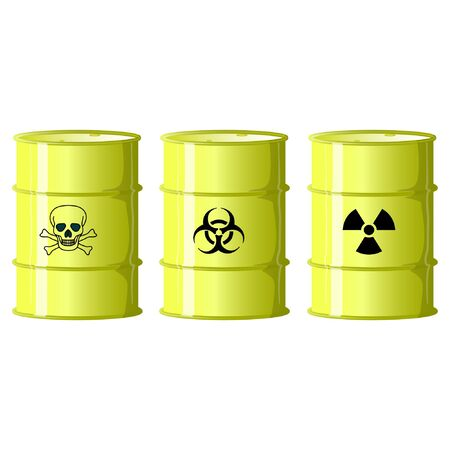 yellow barrels with radioactive waste vector illustration