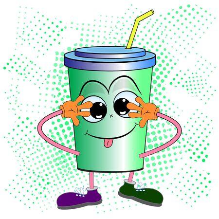 soda drink character cartoon vector illustration. fast food cartoon vector illustration.