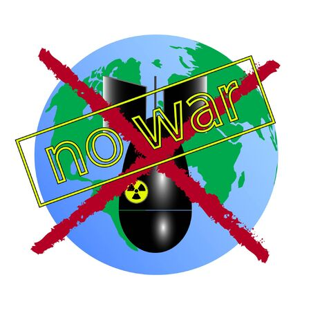 no war vector illustration with earth and bomb.