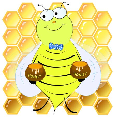 bees and honeycombs cartoon vector illustration