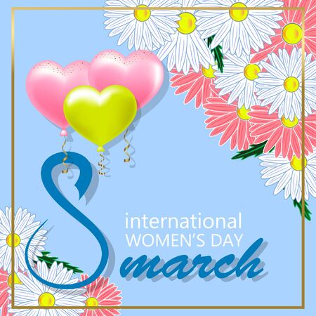 Happy Womens Day poster with a camomile vector illustration on a blue background.