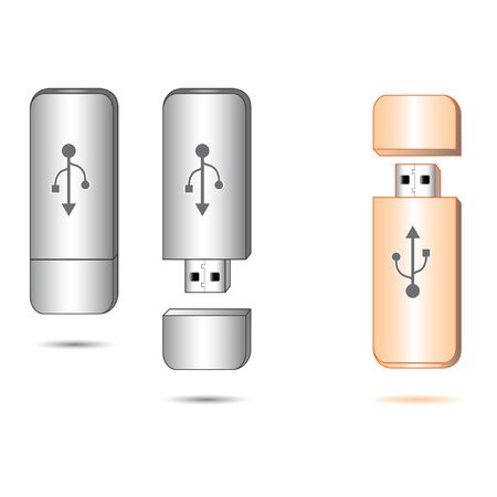 realistic usb flash drive vector illustration Illustration