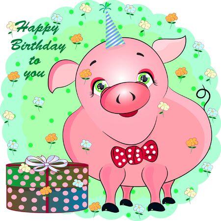 birthday greeting card with pink pig. cartoon vector illustration.