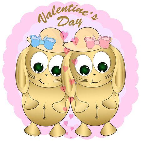 biglietto di auguri di san valentino con conigli. illustrazione vettoriale dei cartoni animati. illustrazione del fumetto del coniglio. Vettoriali
