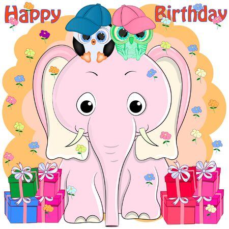 birthday greeting card pink elephant and birds. cartoon vector illustration.