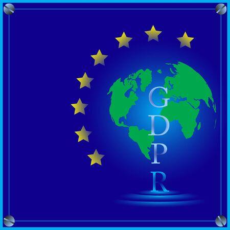 gdpr vector illustration on a blue background