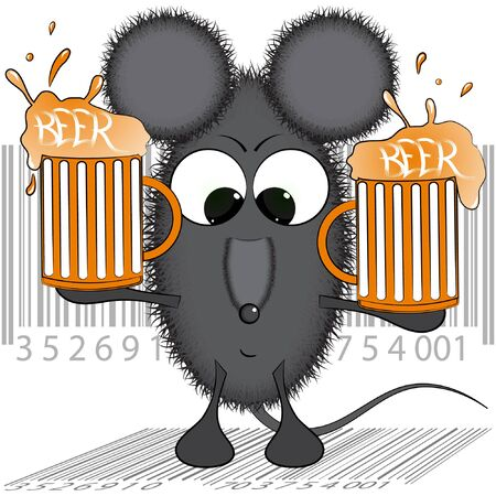 mouse and beer. cartoon vector illustration. funny cartoon rat vector illustration. the rat in the pub illustration. Vector Illustration
